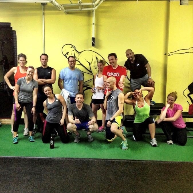A group of us gym friends—including Damaris, Chris (my husband), myself, and two of our closest friends, J.P. + Kevin.