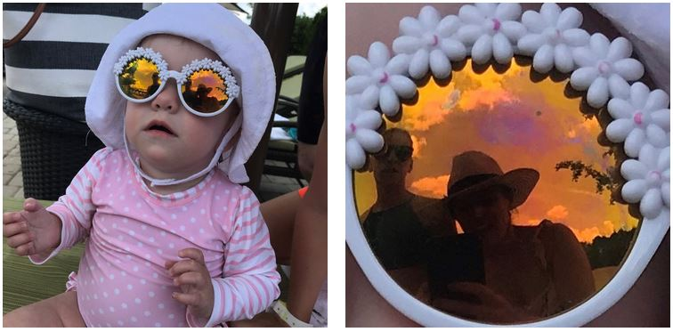 The only photo I got of us was in the reflection of the baby's sunglasses, hahaha!