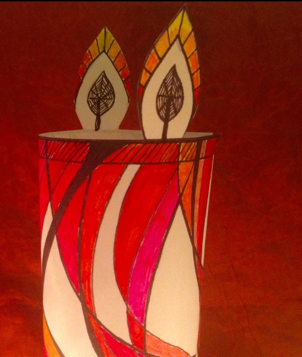 Mindful Colouring-In: Christmas Candle Decoration close up colour wendy ann greenhalgh