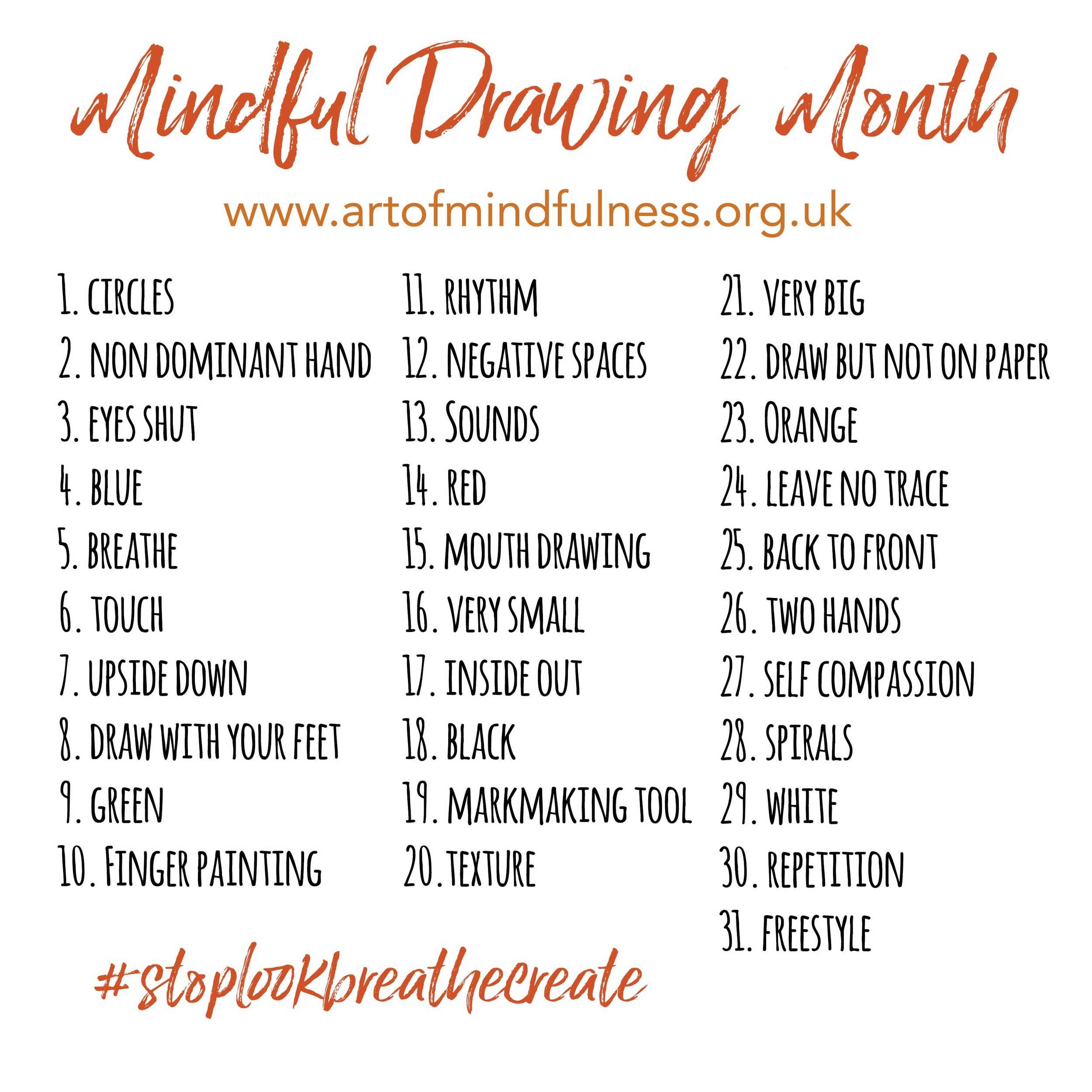 Stop Look Breathe Create Mindful Drawing Challenge January