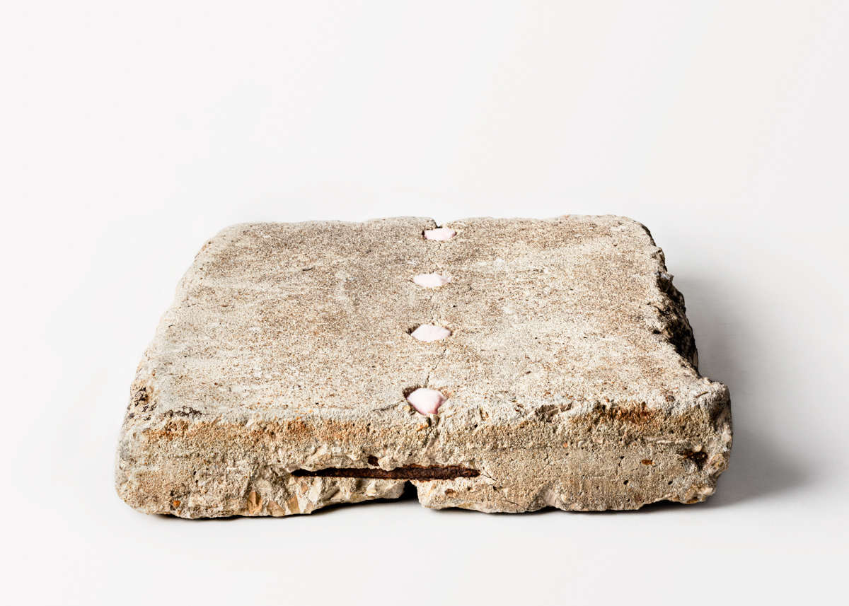 """Beginning Again, Softly, 20"""" x 20"""" x 4"""", cement, rebar, and pink cotton balls, 2019"""