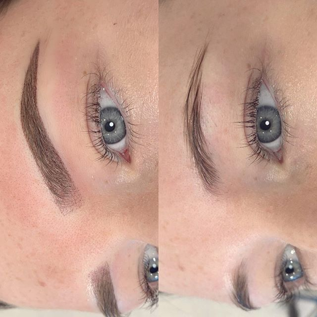 OMBRÉ BROW 👊🏽 unlike the old school block tattoo, this type of cosmetic tattooing is made up of pixels, resulting in a more defined and still very natural healed result. WE LOVE OMBRÉ BROWS 💕 BROWS BY: Yasmin