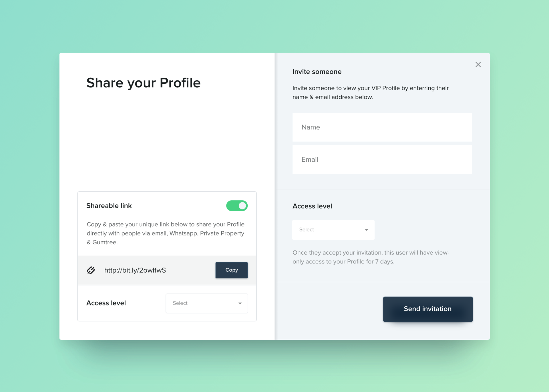 """Sharinga VIP Profile - Once a tenant creates their VIP Profile, it's as easy as hitting """"Share"""" where they can either enter the email address of someone they want to share directly with, or copy their unique link and paste in a message, email or even an SMS.Create your Profile →"""