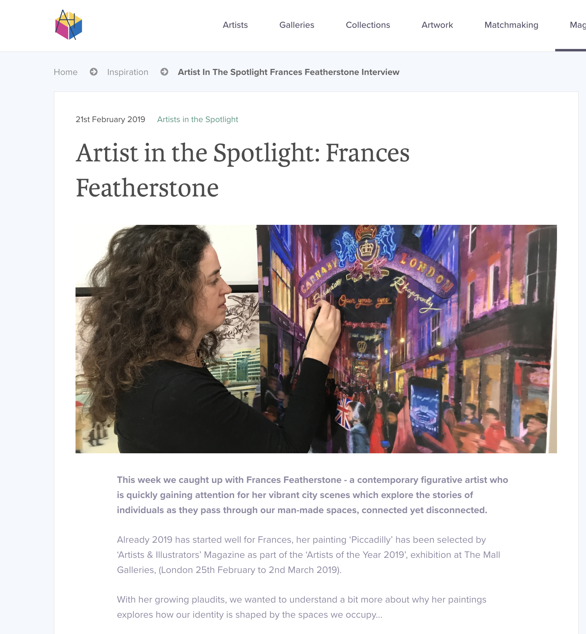 Interview by Artshaus Gallery - https://artshaus.co.uk/inspiration/artist-in-the-spotlight-frances-featherstone-interviewClick here to learn about my journey as an artist, my interests, my influences and my challenges.Thank you to Artshaus for interviewing and promoting me!
