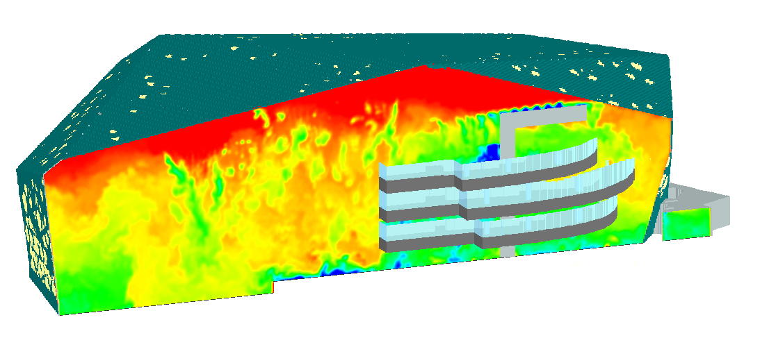 Contours of temperature showing optimised HVAC system cooling down 65,000 m3 of air