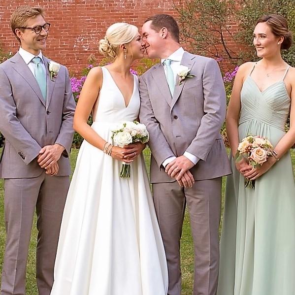 Garden Wedding  Kristen and Robert were married at the Lyman Estate. Garden grown flowers included: dahlias, sedum and globe amaranth.