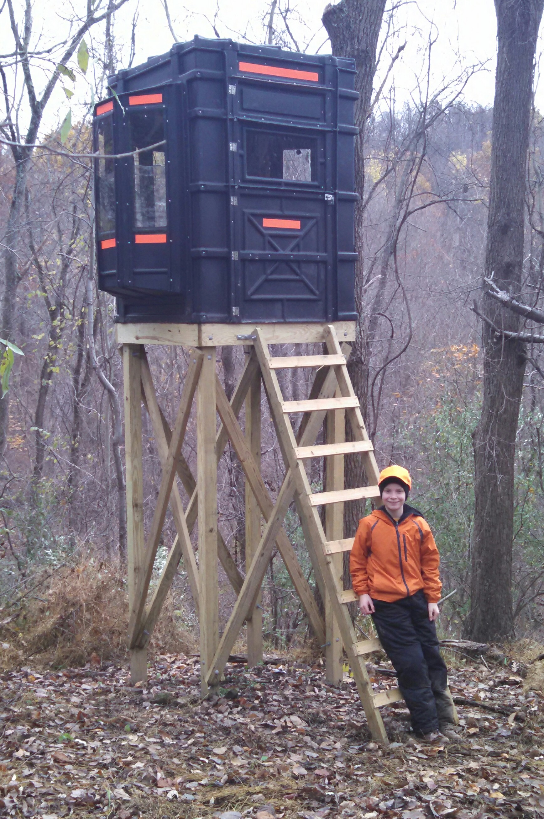 - After installing his box blind for bow hunting, this customer had the ideal set up for both he and his son (in the photo). He was very satisfied with the level of service provided when he needed help setting up his windows... - Mike C.