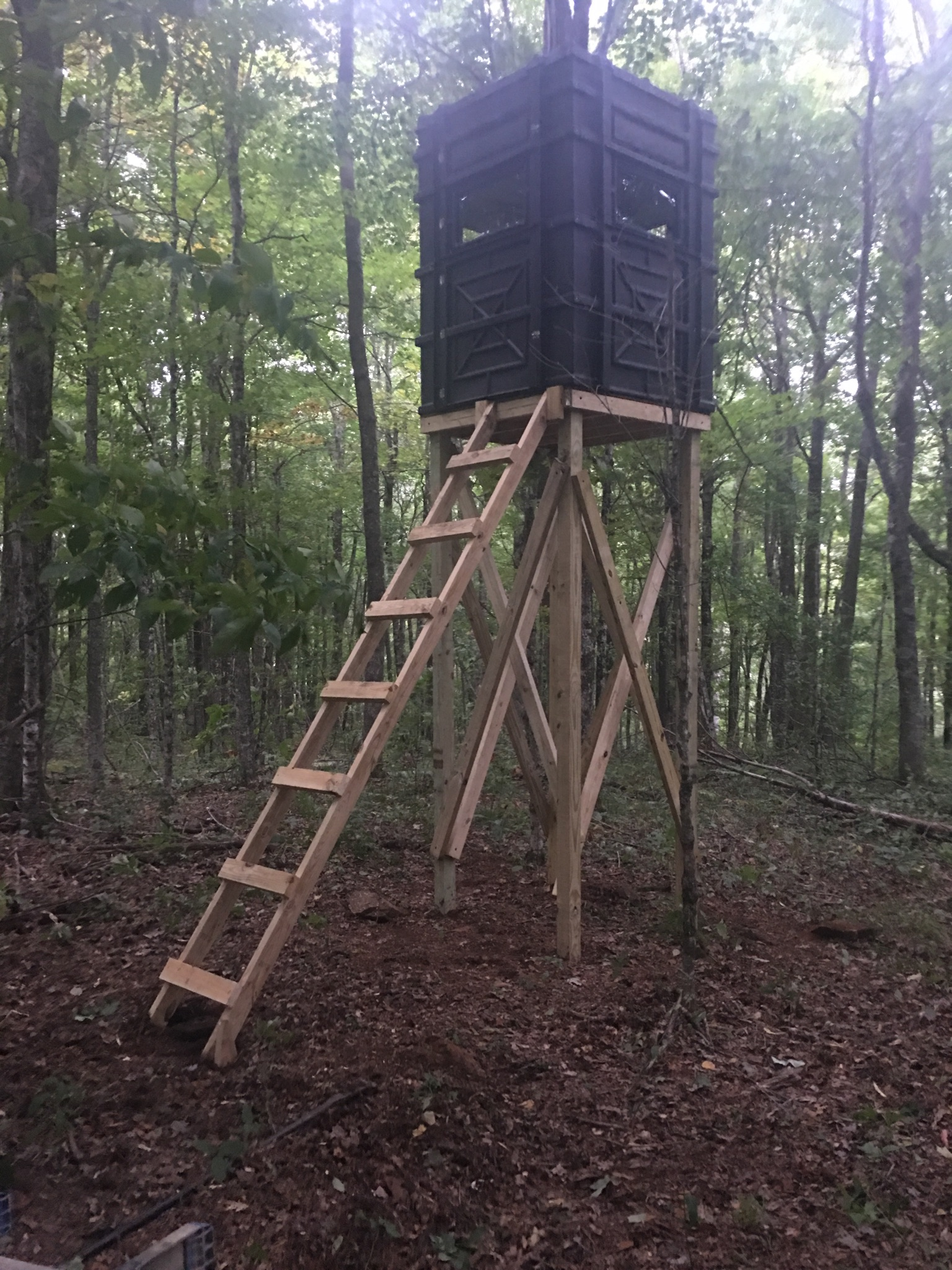 This is a great example of a dedicated customer using Hughes Products Box Blinds to build his own customized tower! - Ashley P. -