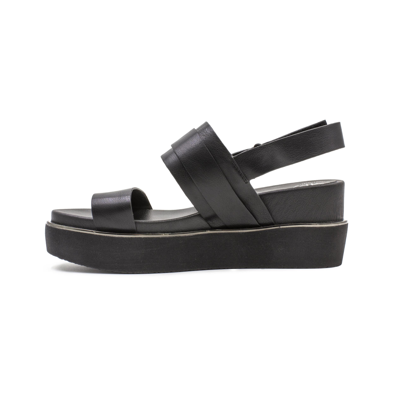 Black Faux Leather Midi Wedge Sandal