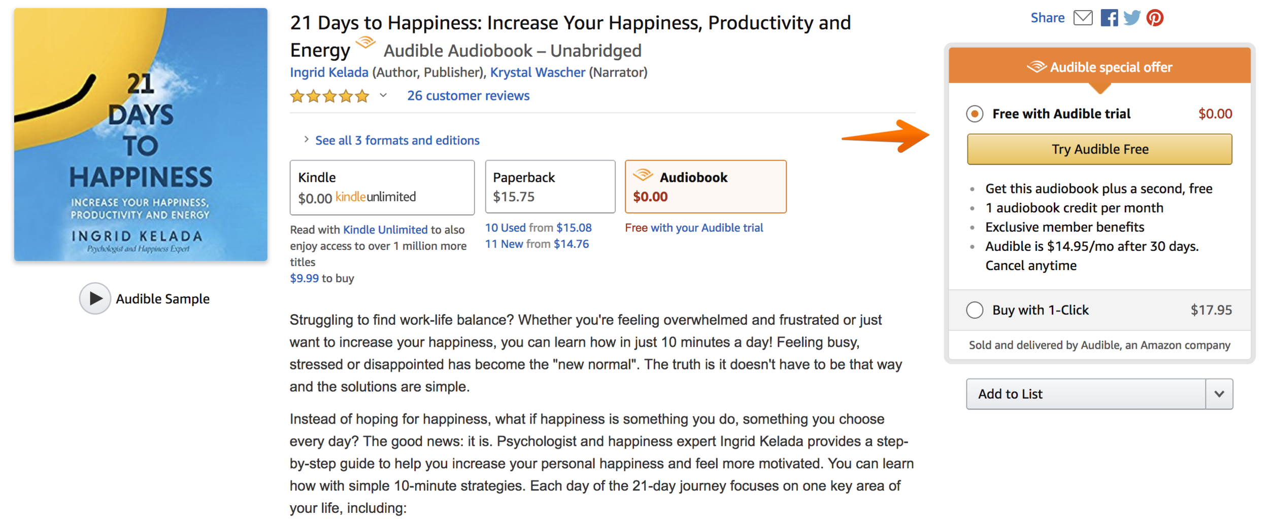 Amazon.com: 21 Days to Happiness: Increase Your Happiness, Productivity and Energy (Audible Audio Edition): Ingrid Kelada, Krys… 2018-06-05 10-55-45.png