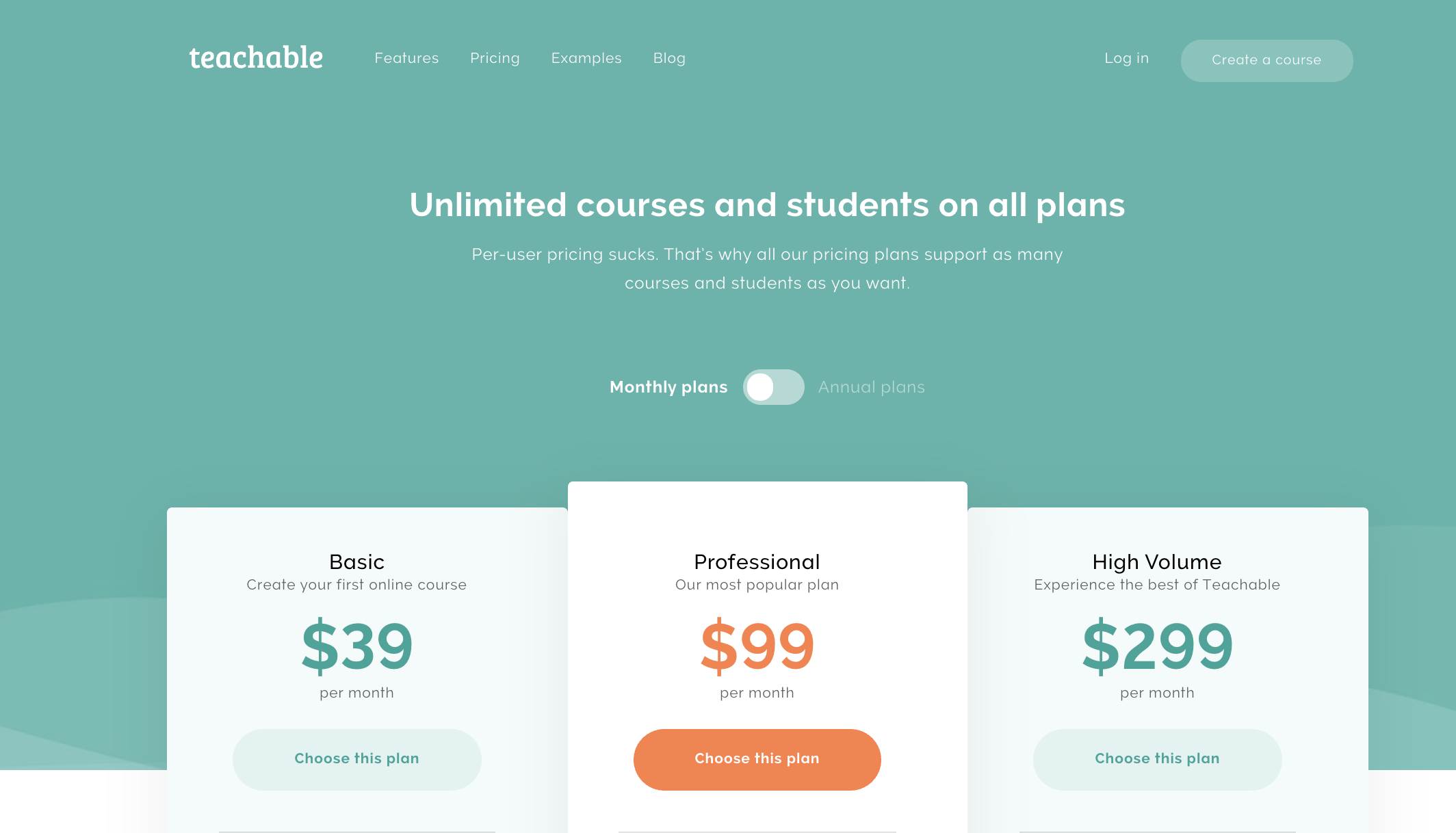 Buy  Teachable  Course Creation Software  Price Colours