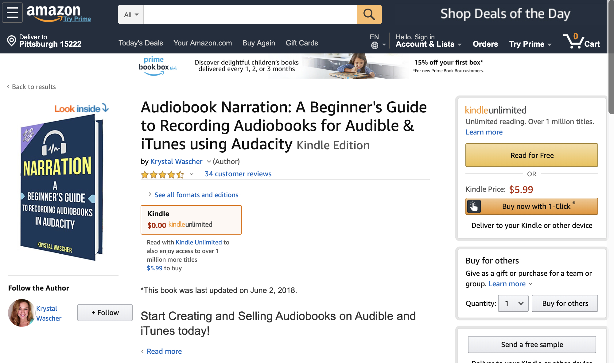 Audiobook Narration: A Beginner's Guide to Recording Audiobooks for Audible & iTunes using Audacity - Kindle edition by Krystal… 2019-06-03 16-59-06.jpg
