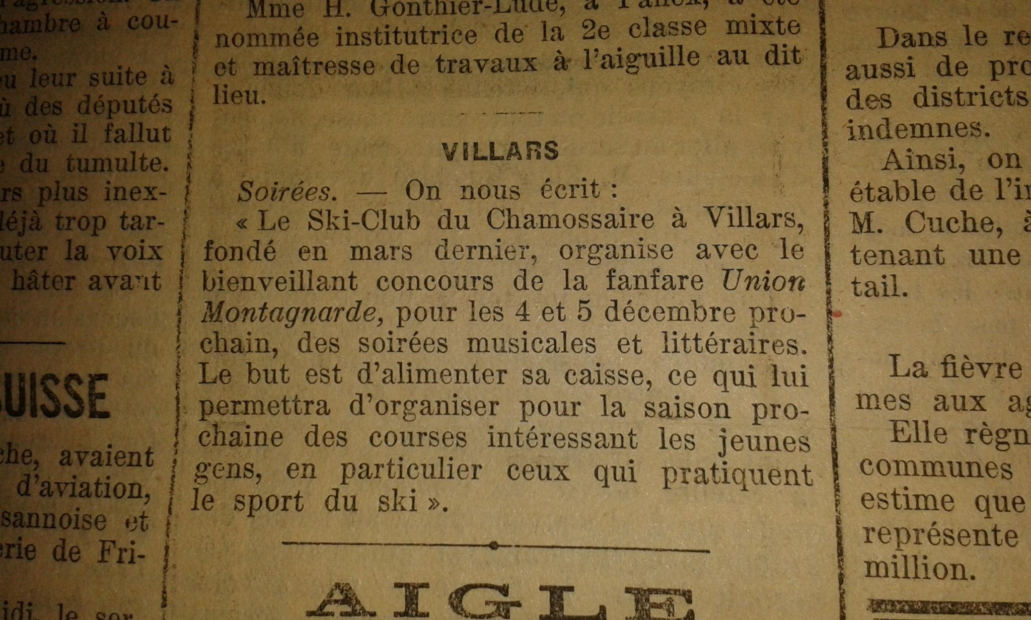 Tiré de la feuille d'avis du district d'Aigle du 23 novembre 1920