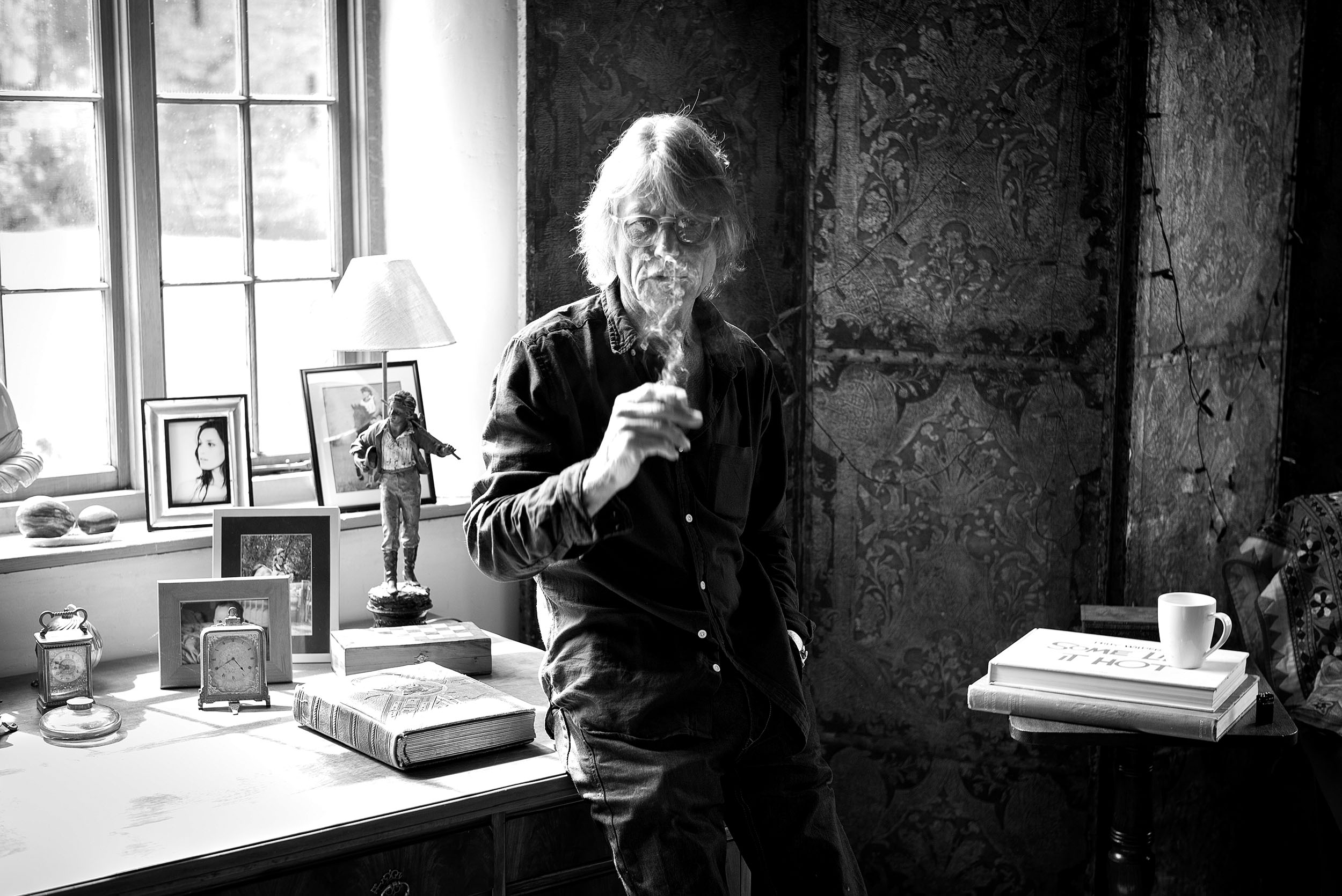 Film director and writer Bruce Robinson at home.