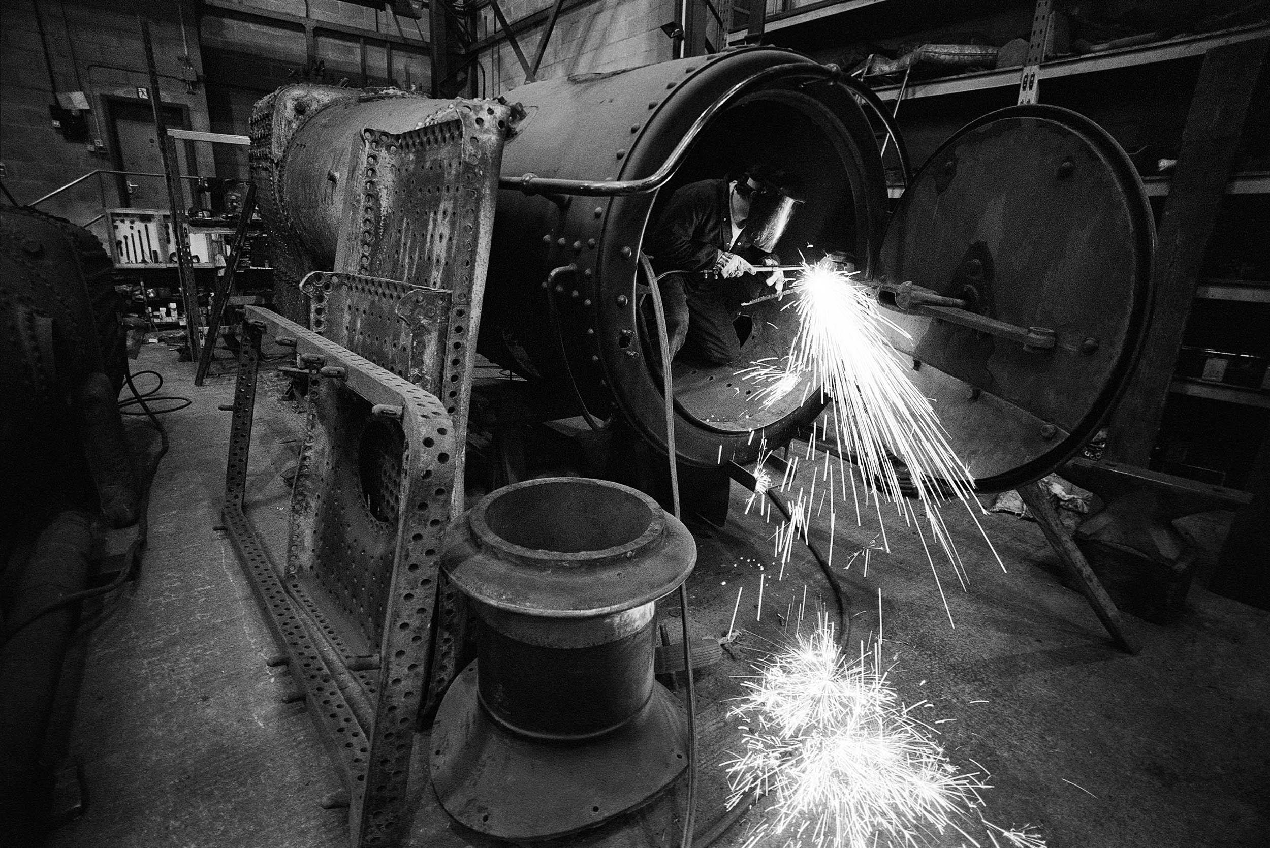 Welder at work on the Severn Valley Railway in Bridgnorth.