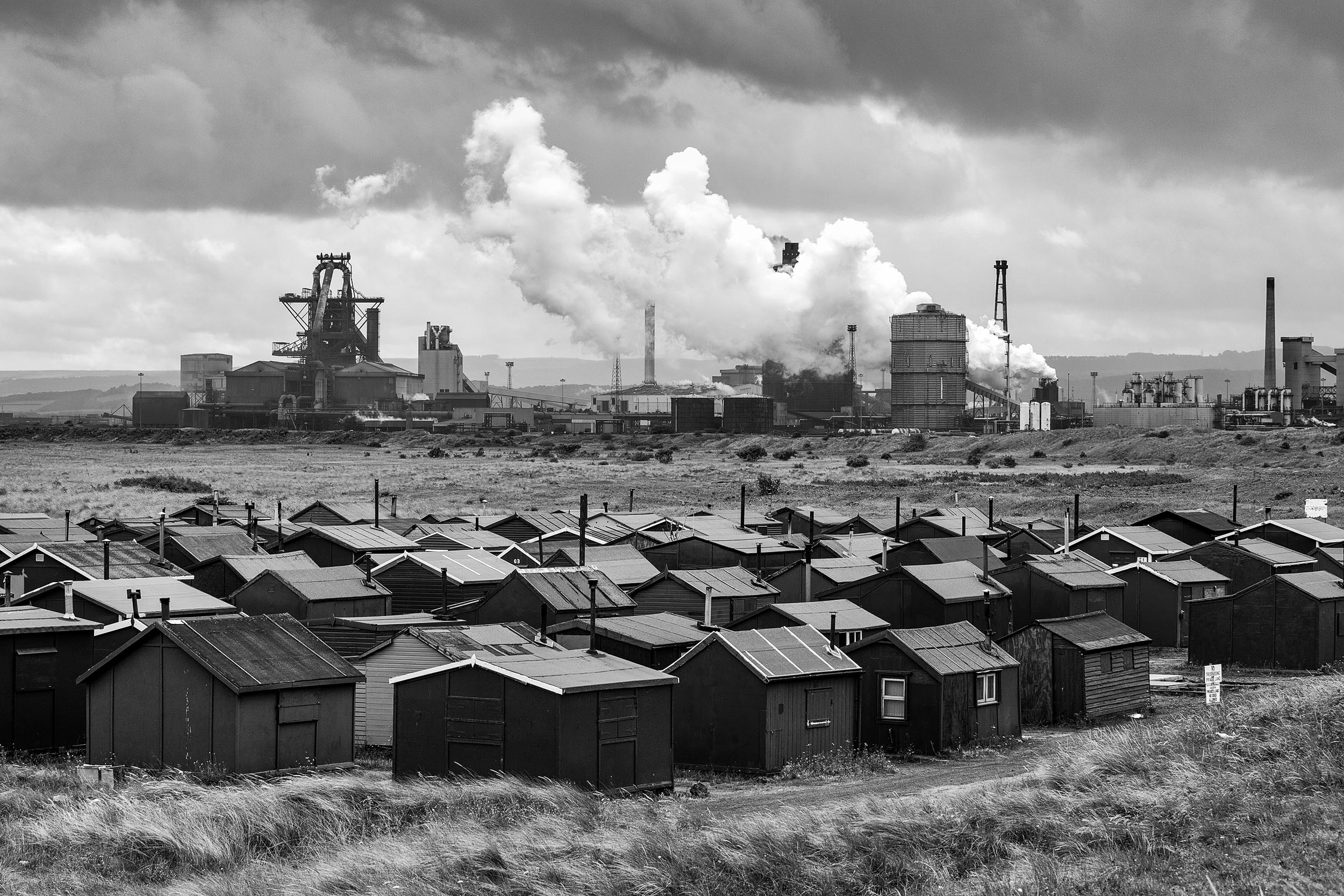 Fishermen's huts and steel works at Redcar on Teesside