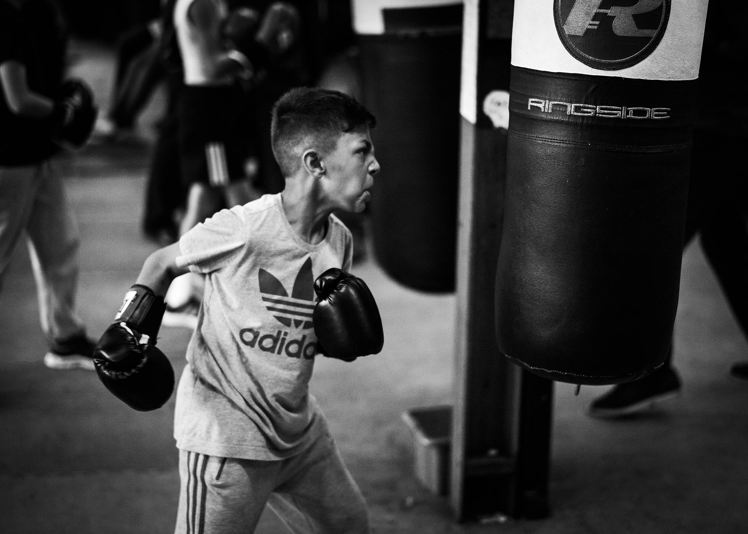 A young boxer at a gym in Birmingham