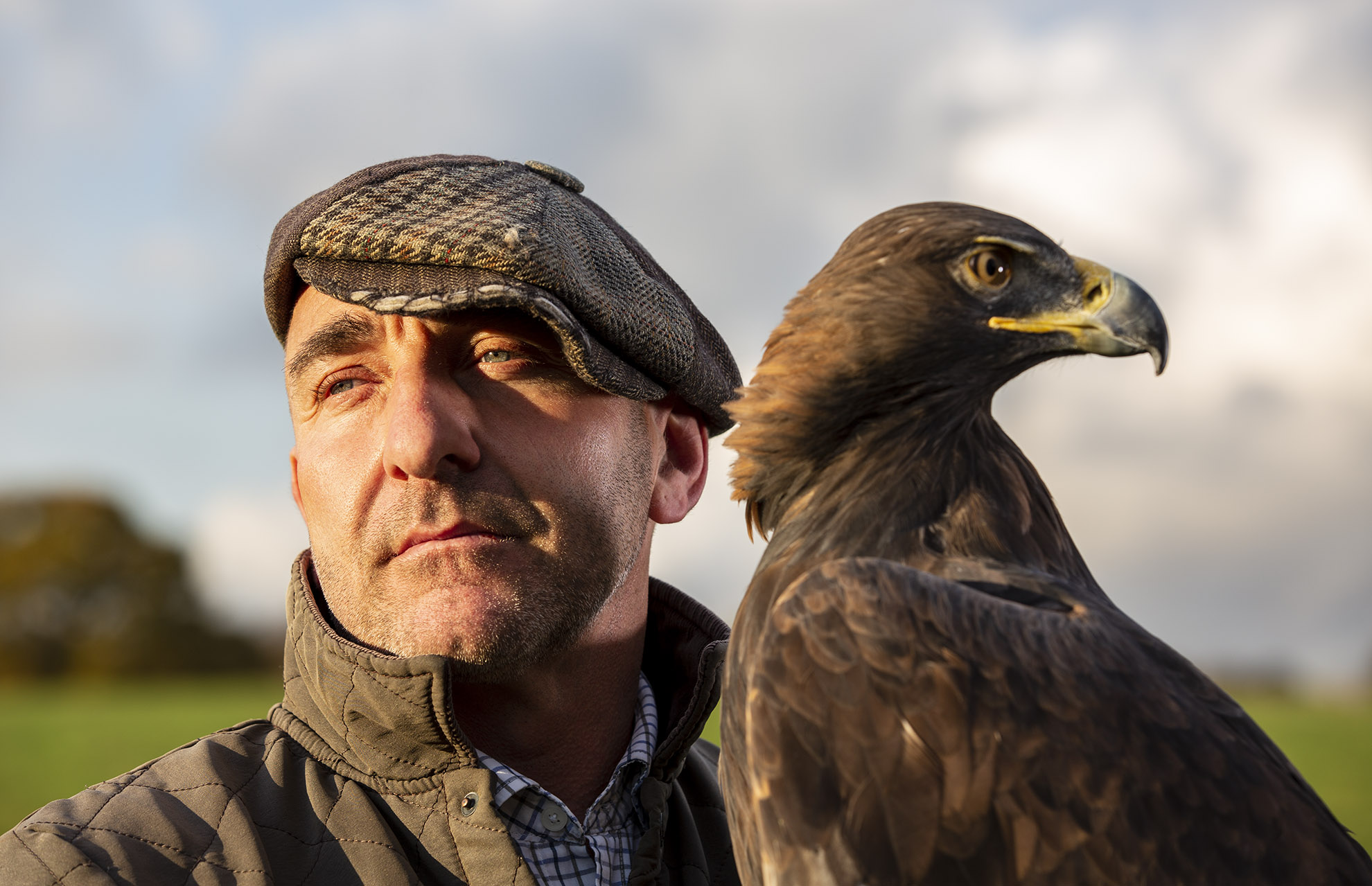 """""""She is bonded to me. She trusts me, and will listen out for where I am."""" Falconer Chris Miller with """"Skye"""", his Golden Eagle."""