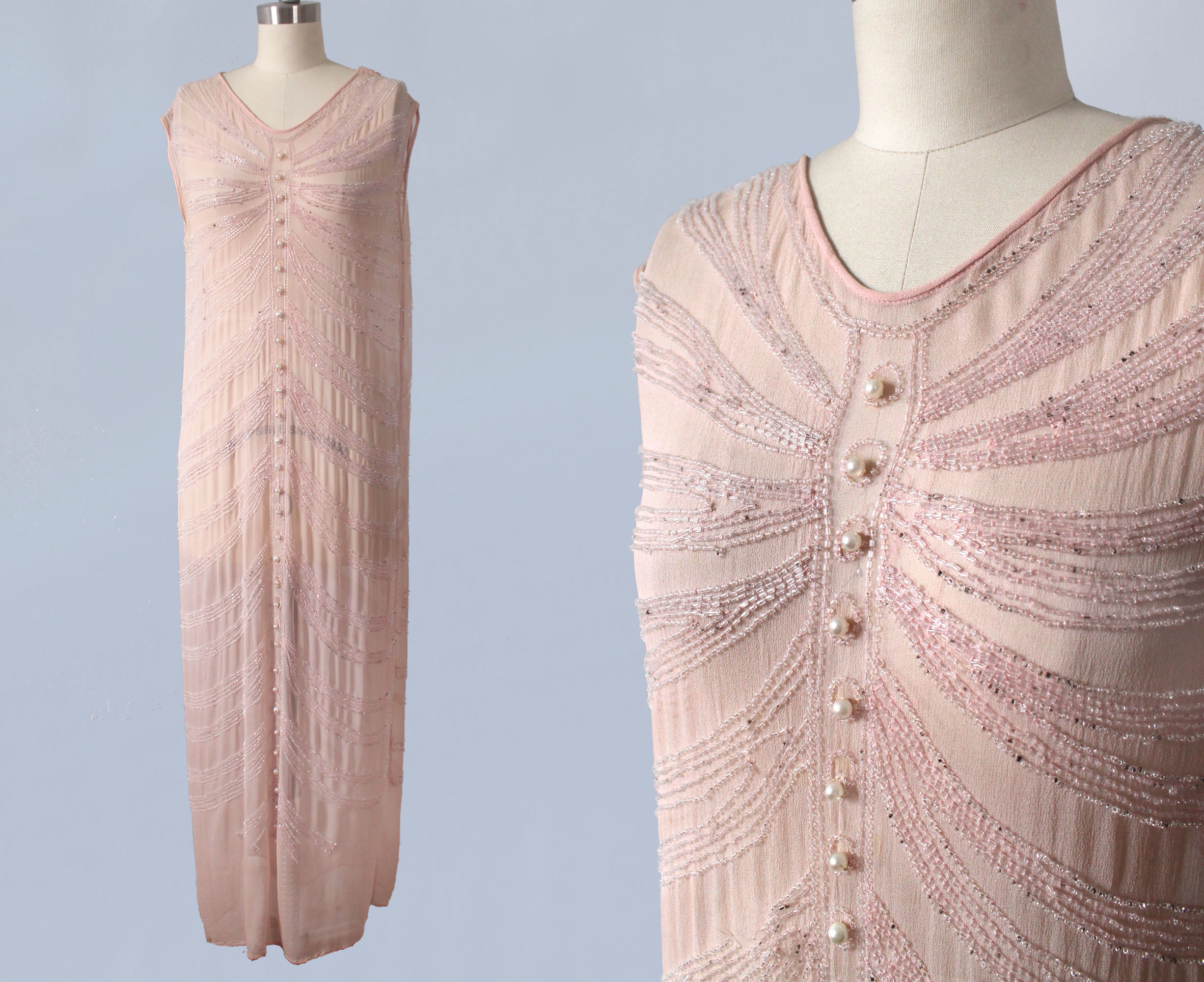 Pink silk beaded dress, 1920s