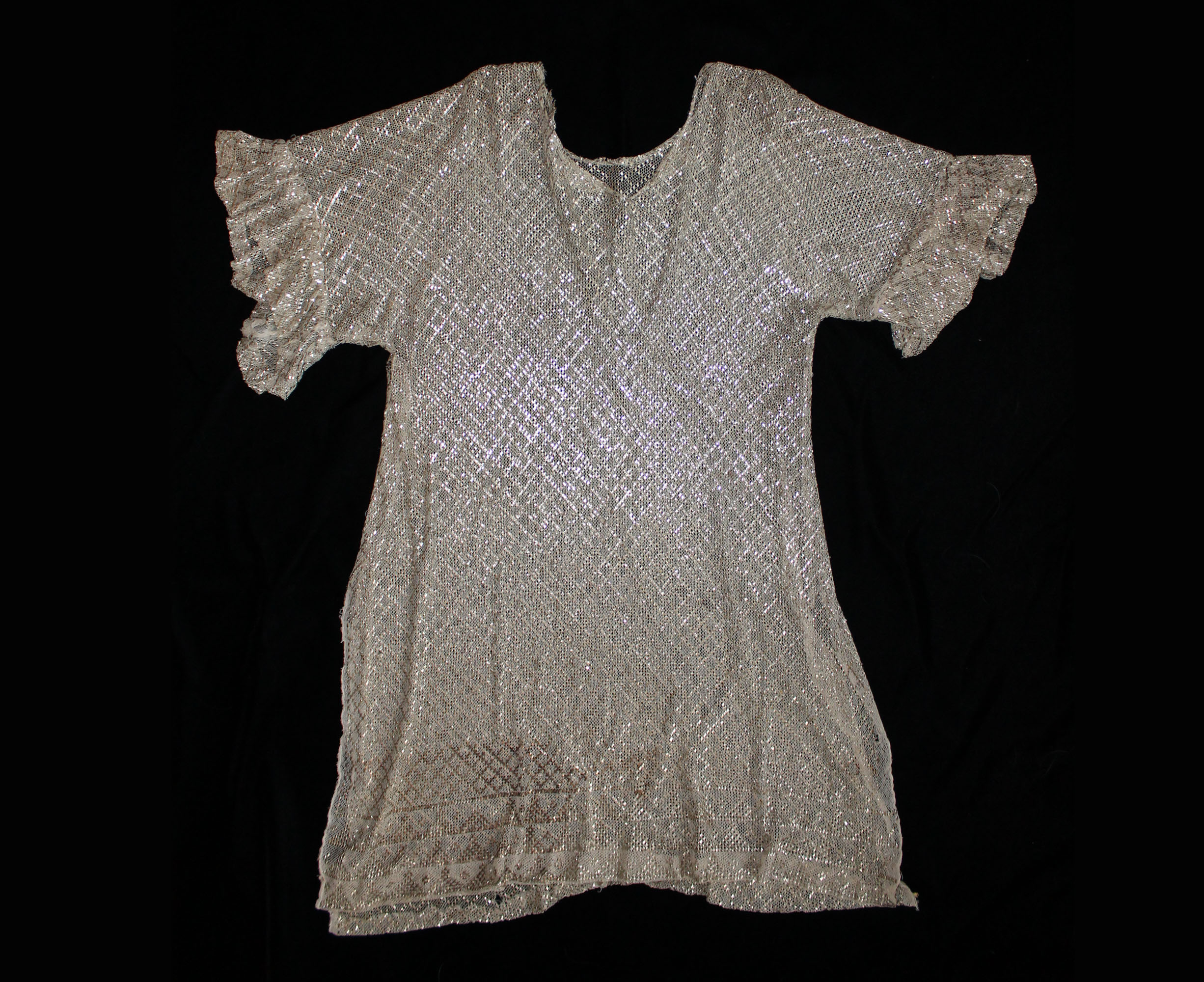 Assuit hammered metal on cotton net tunic top or dress. Egyptian revival. 1920s.