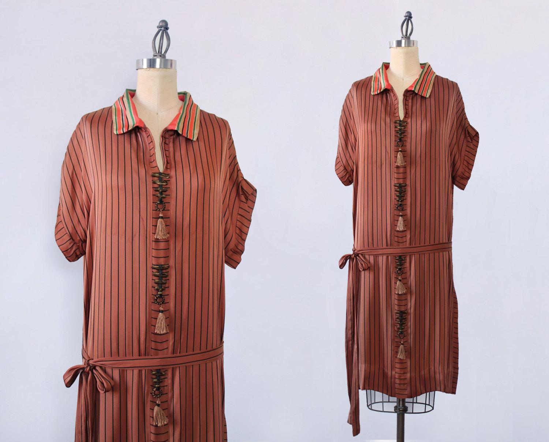Silk satin striped dress. 1920s.