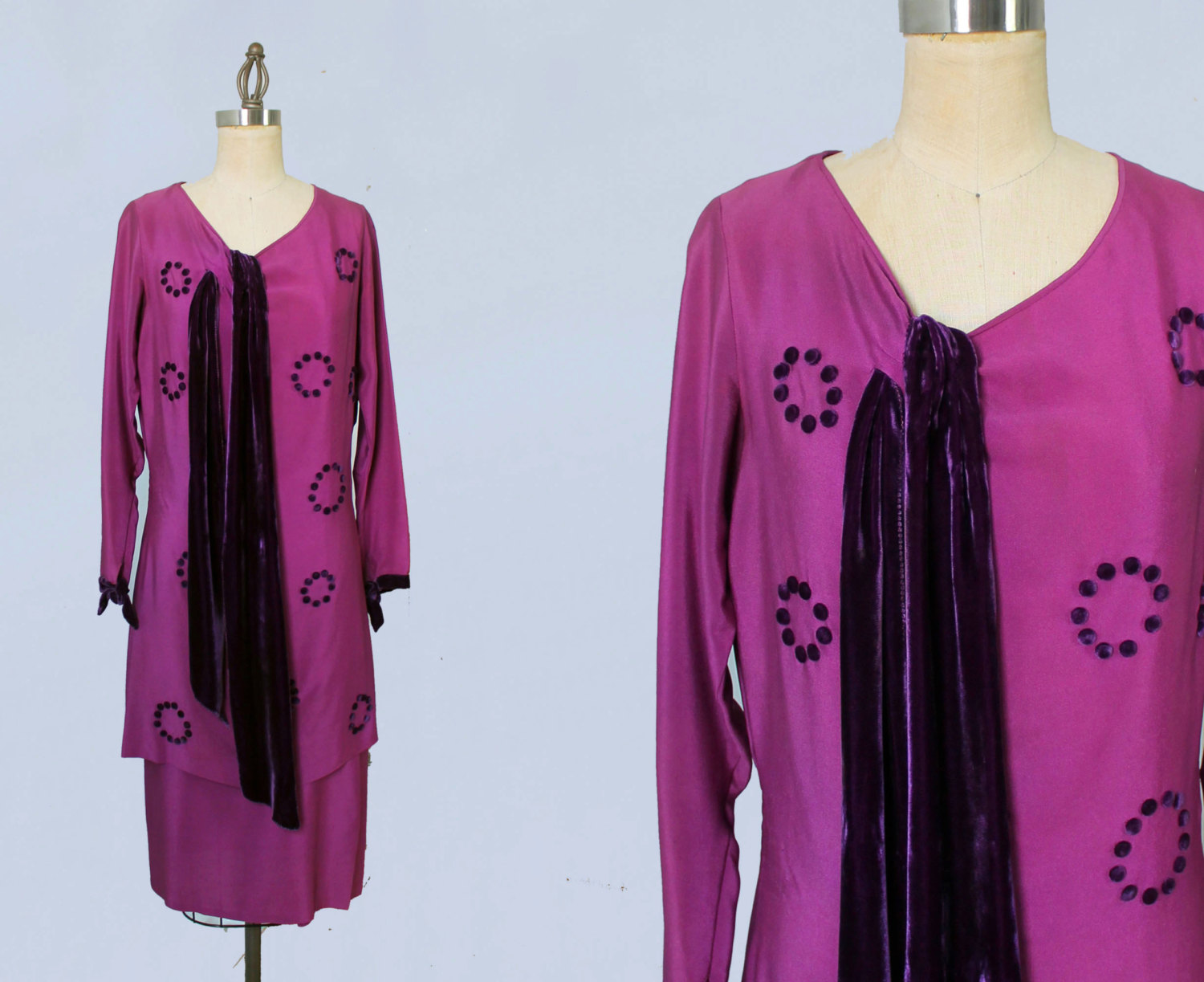 Fuchsia silk dress with purple velvet and pom poms. Late 1920s.