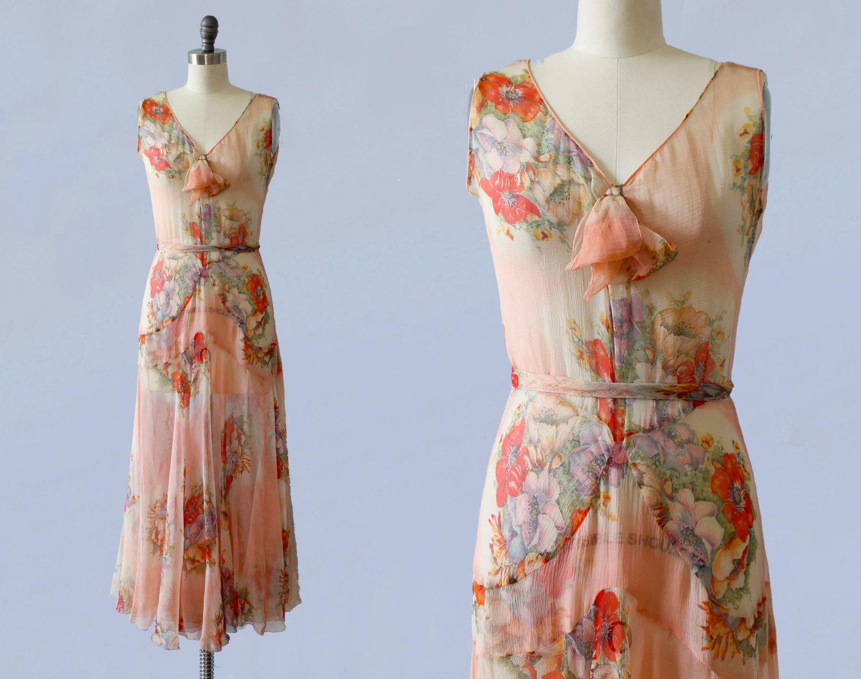 Silk chiffon floral printed dress. 1920s.
