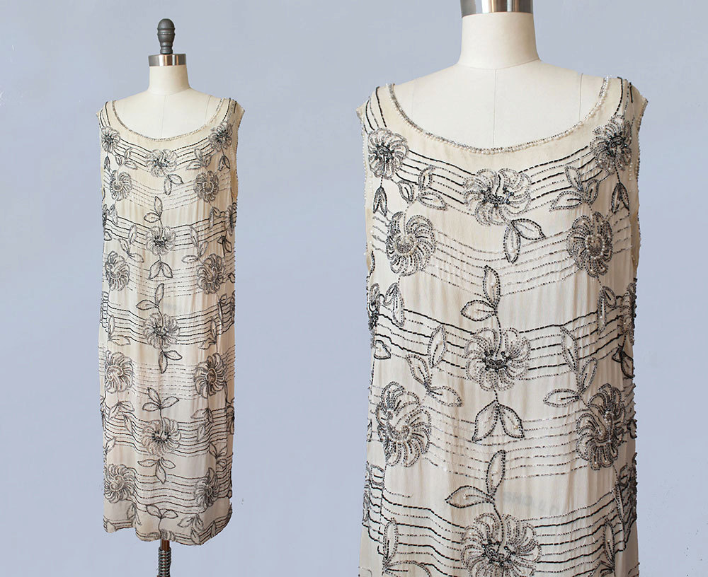 Cream cotton dress with glass beading. 1920s