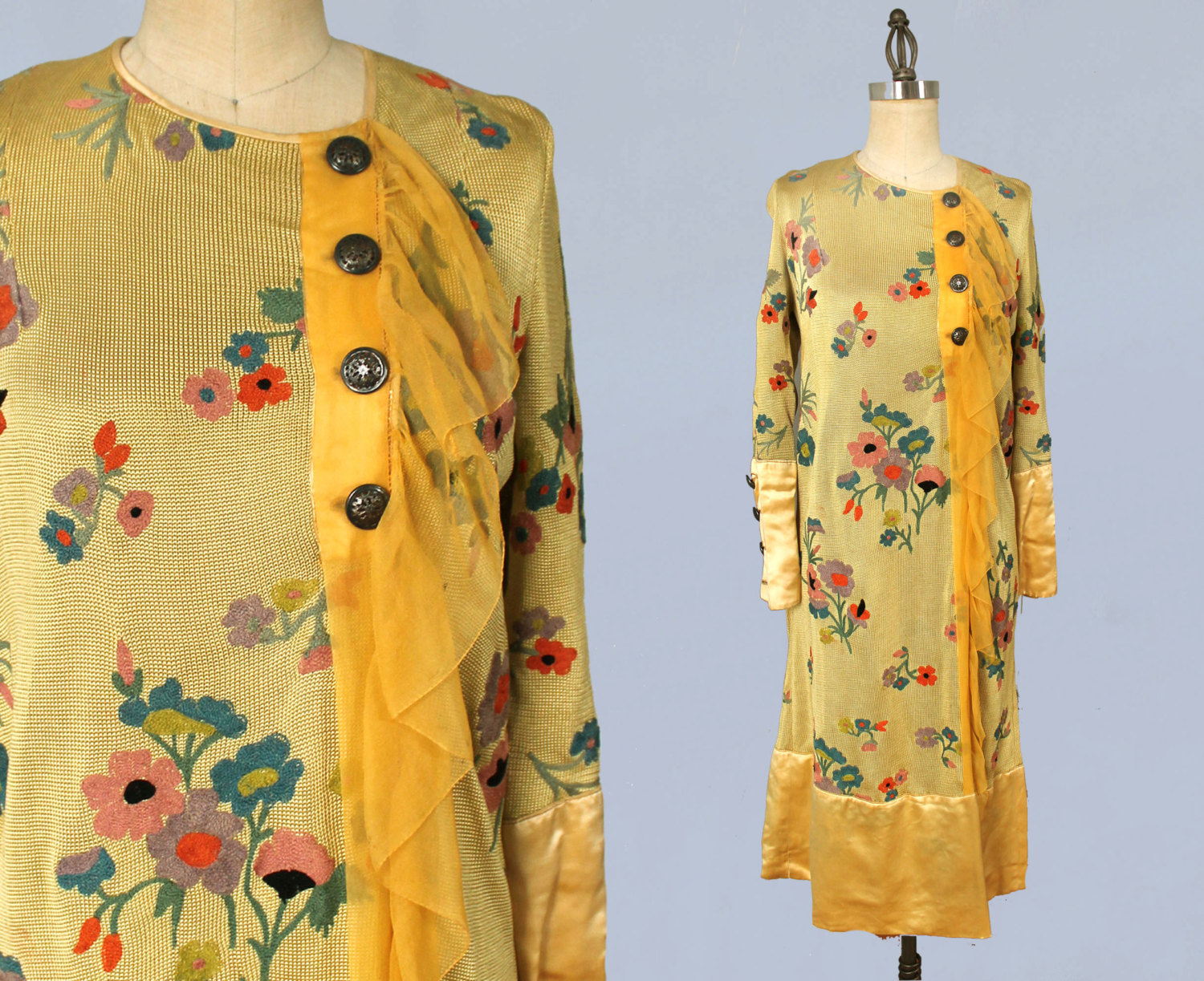 Bright yellow knit dress with embroidered floral motif and yellow silk trim. Late 1920s