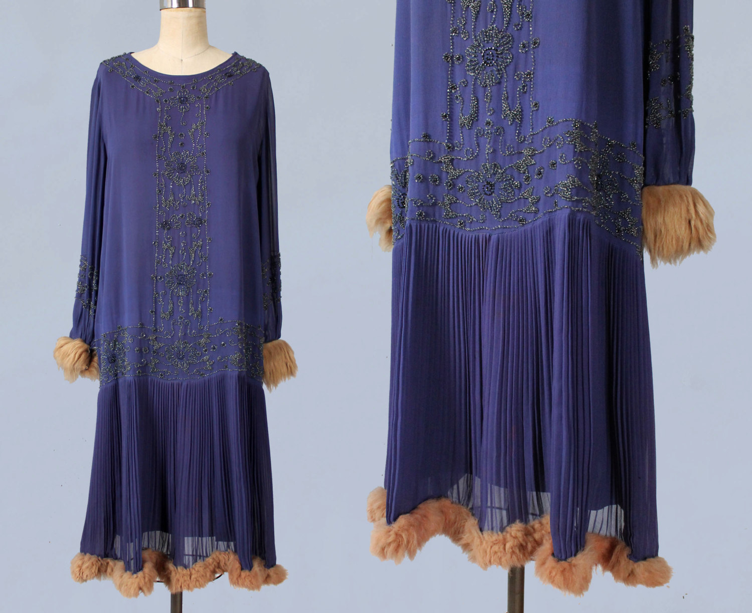 Purple silk dress with beading and fur trim. 1920s.