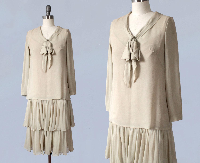 Cream silk two piece dress. 1920s.