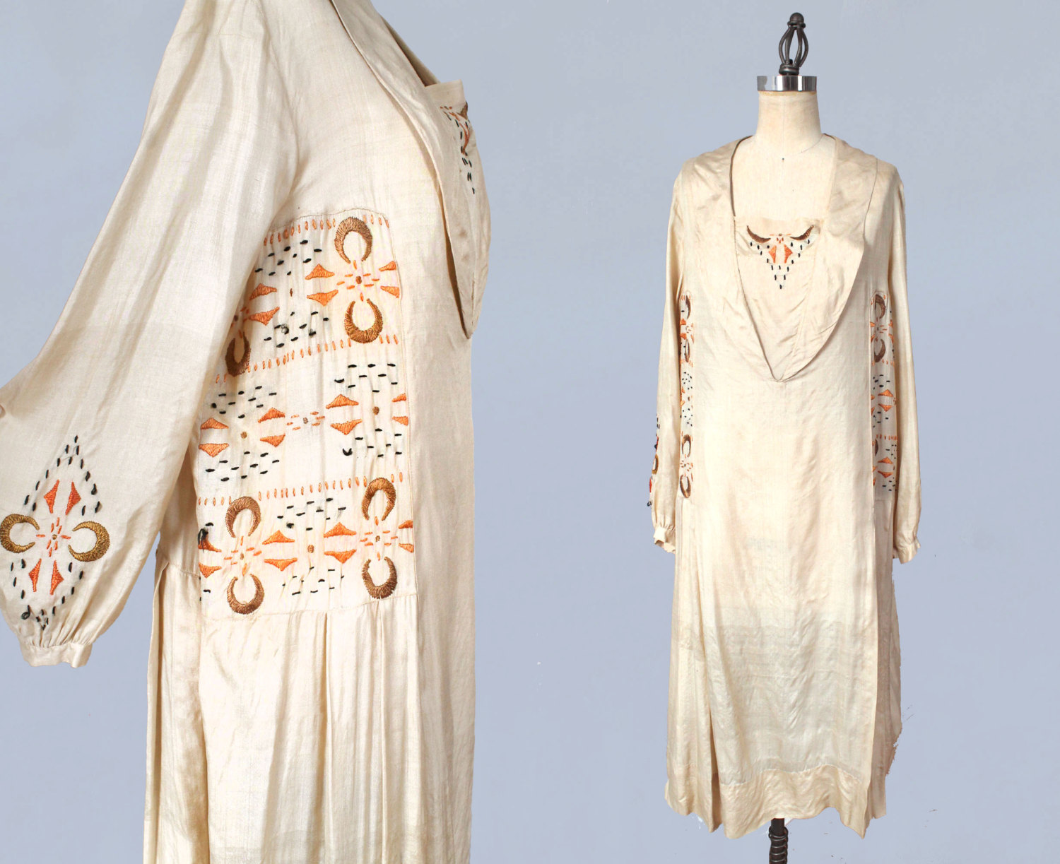 Silk embroidered dress. 1920s.