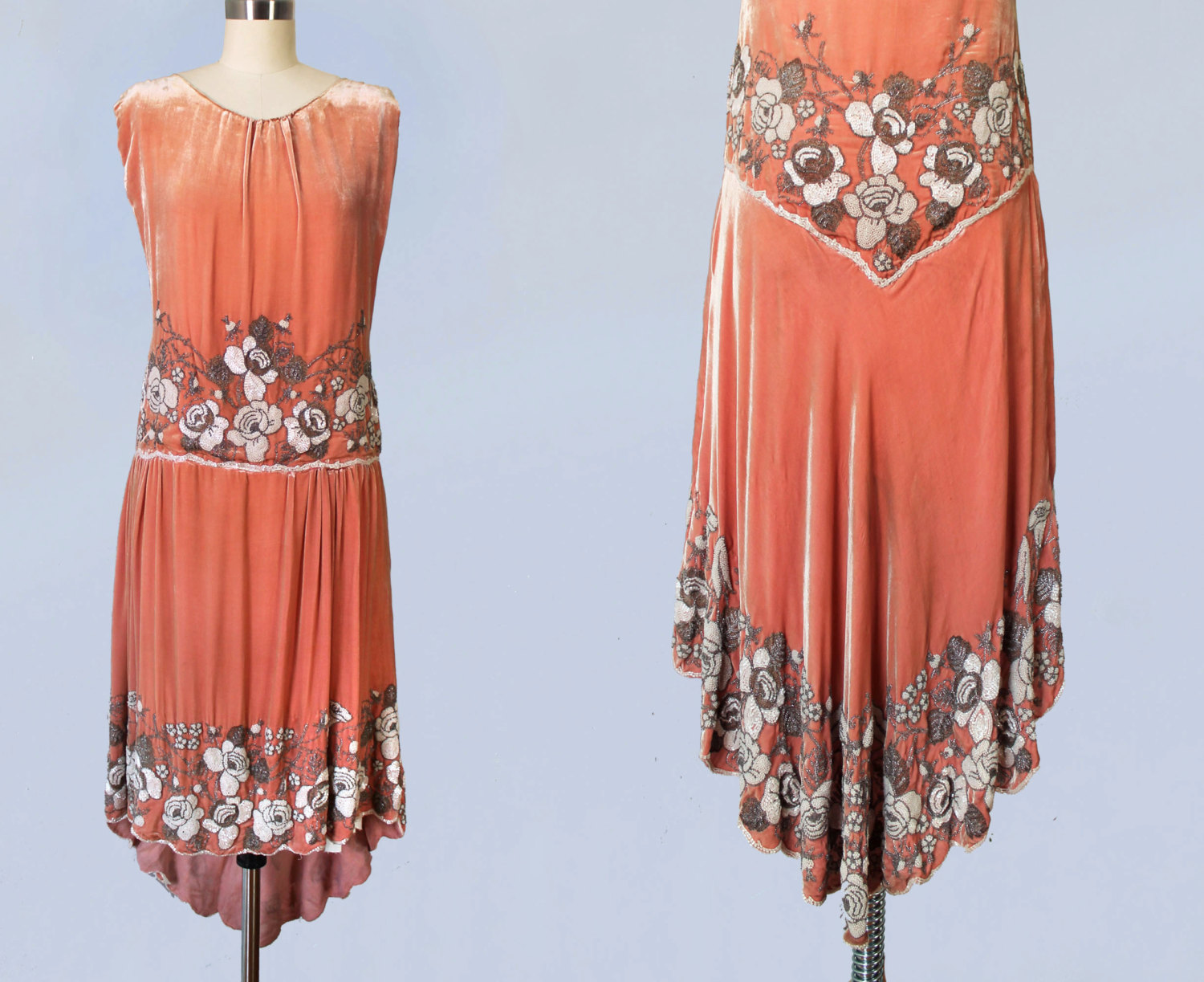 Pink cotton velvet dress with beading. 1920s.