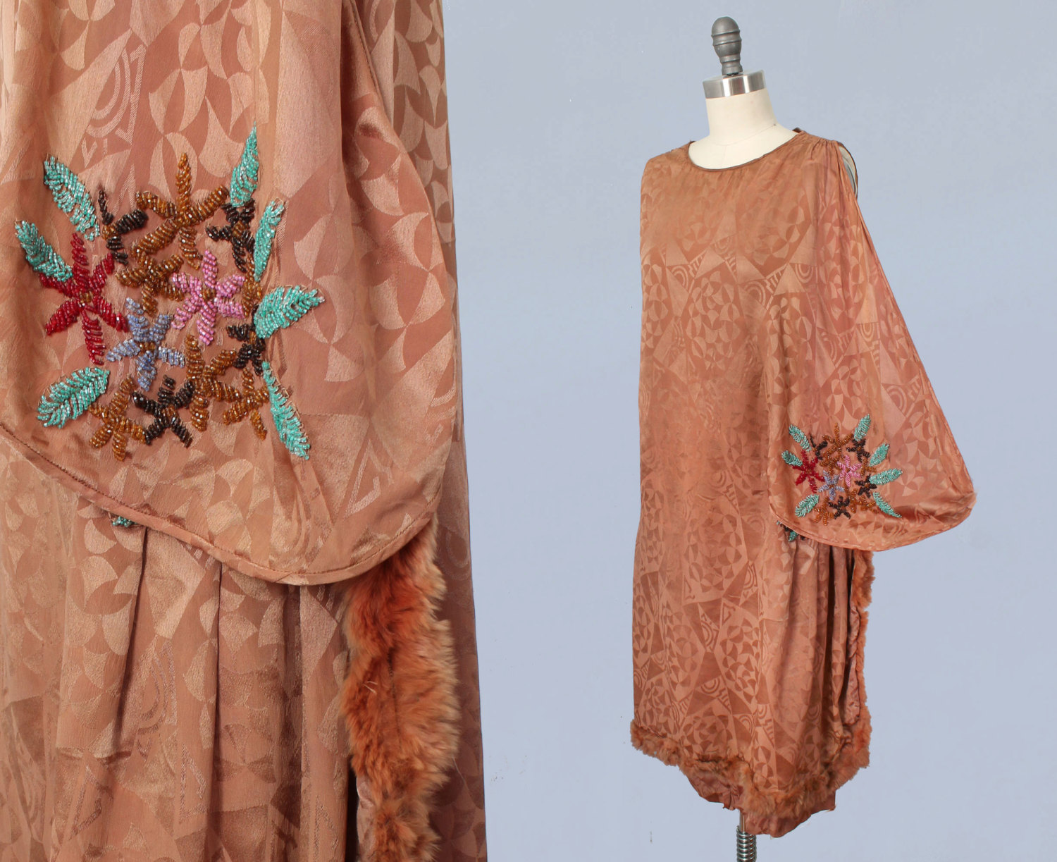 Brown art deco motif jacquard silk dress with floral beading and fur trim. 1920s.