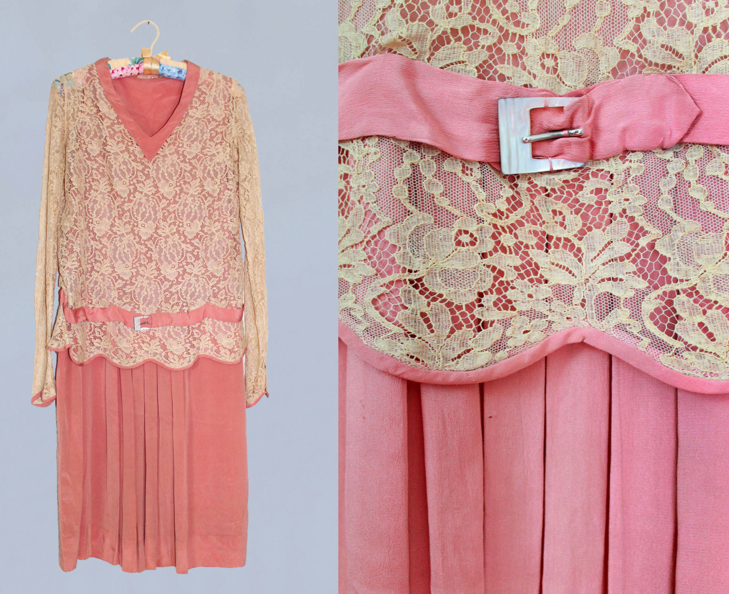 Pink silk dress with lace bodice and attached belt. 1920s.