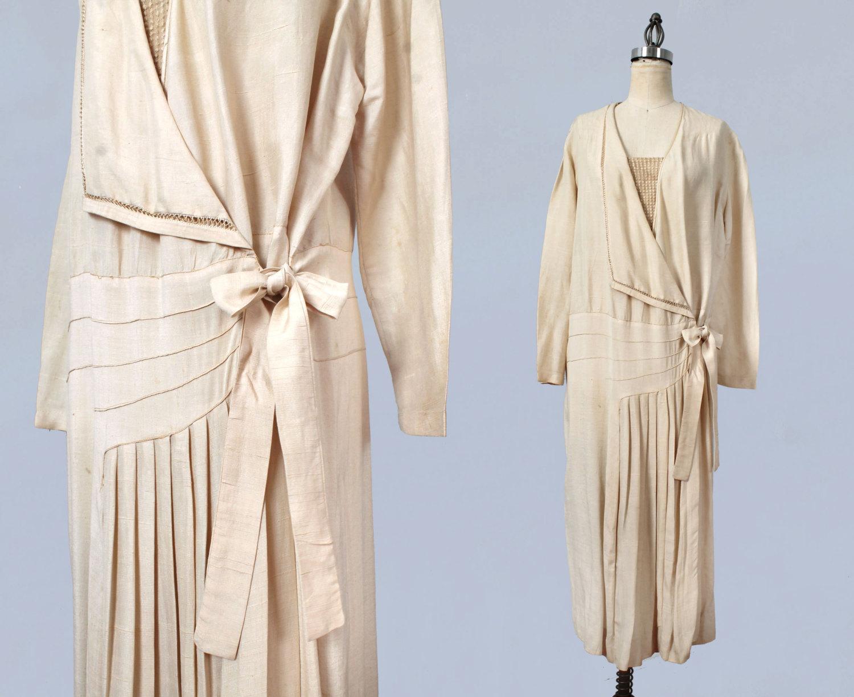 Raw silk wrap dress. 1920s.