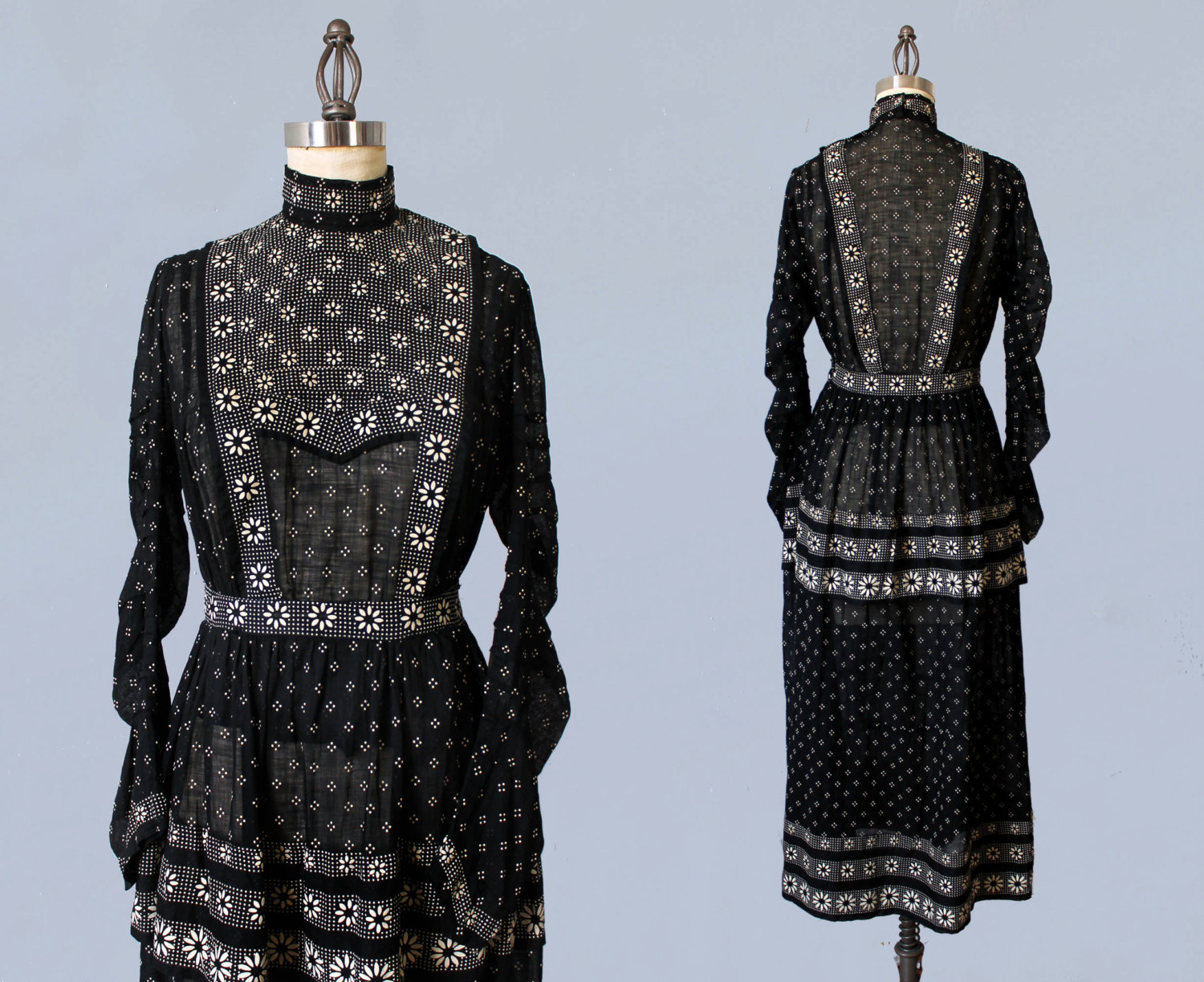 Black and white cotton two piece dress set blouse and skirt. 1910s.