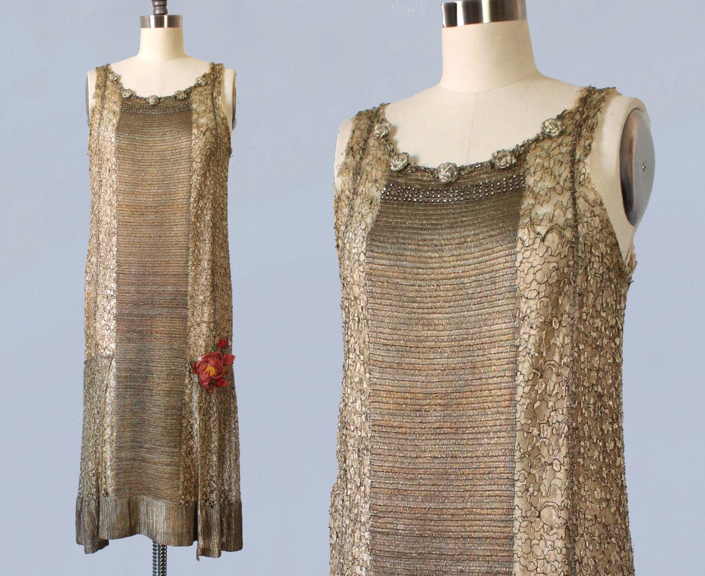 Metallic gold lamé dress. 1920s.