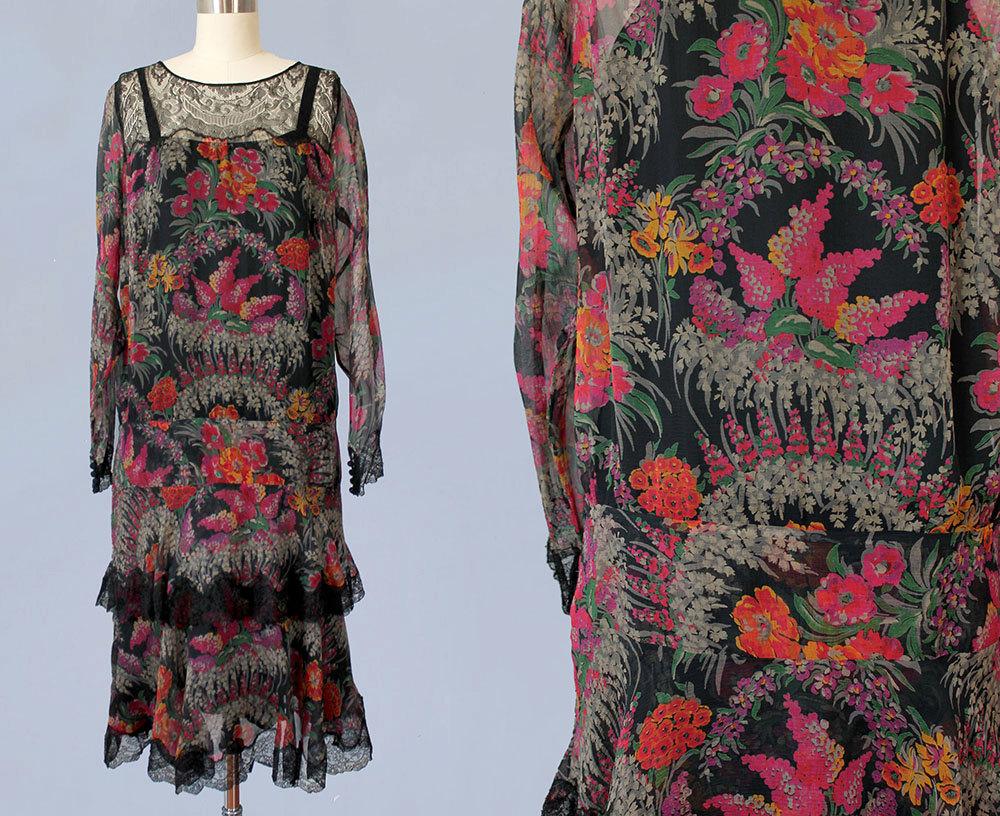 Printed floral silk dress. 1920s.