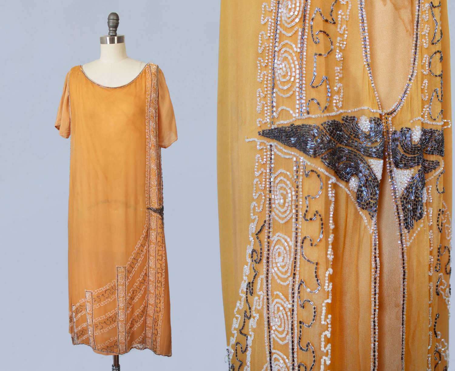 Orange silk tabard dress with beading and slip. 1920s.