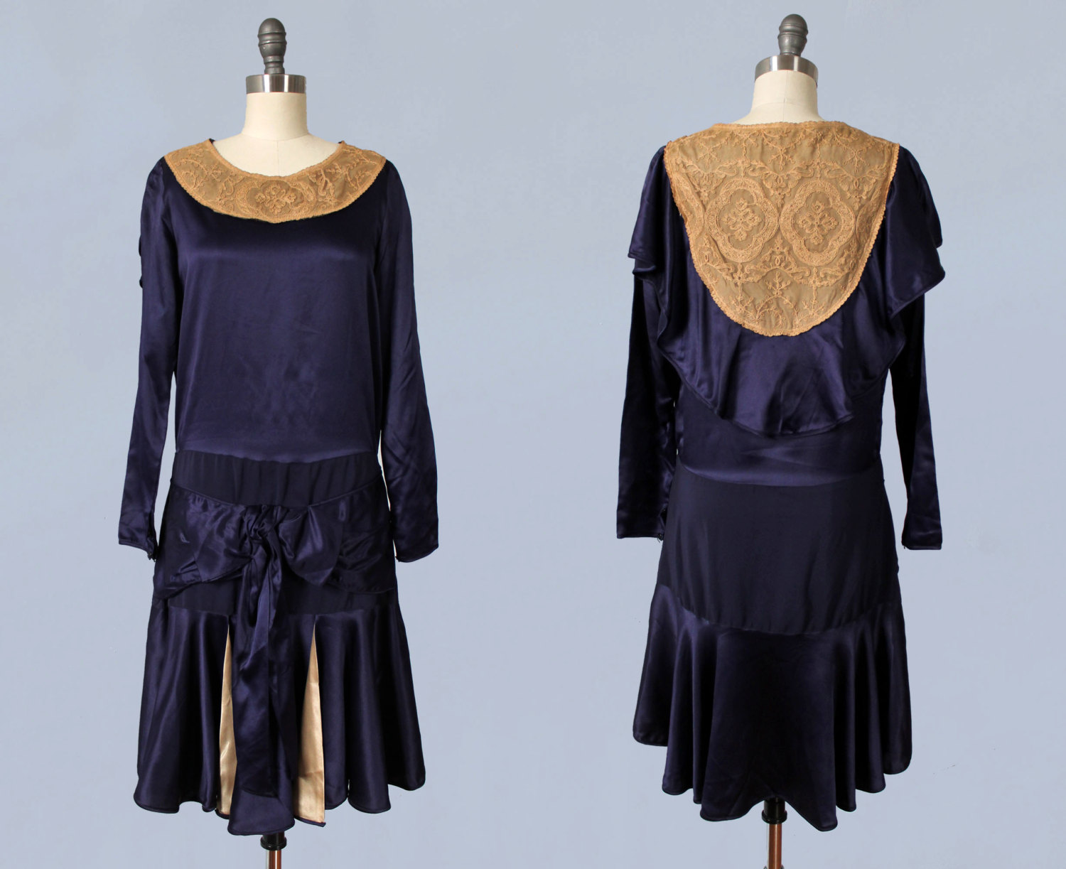Silk satin and lace dress. 1920s.