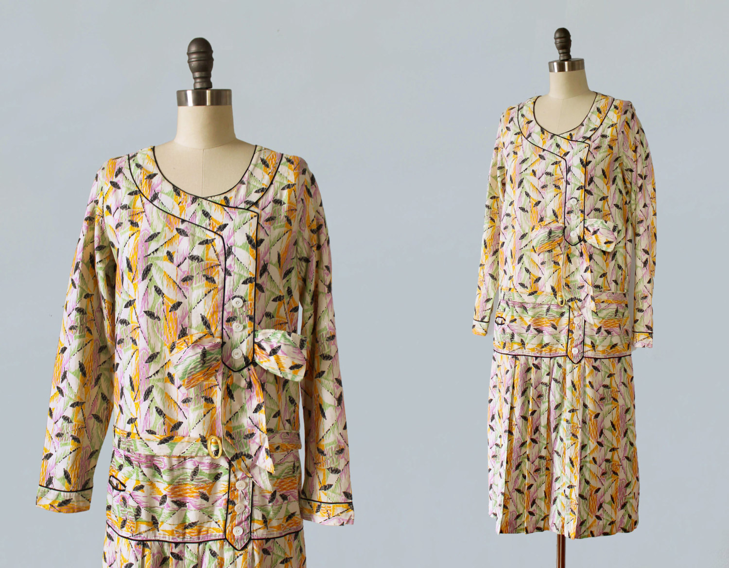 Printed cotton dress. 1920s.