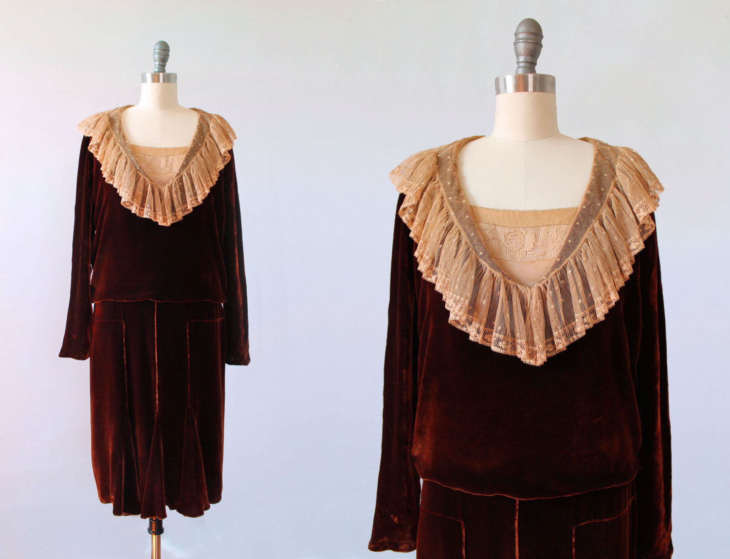 Silk velvet and lace dress. 1920s.