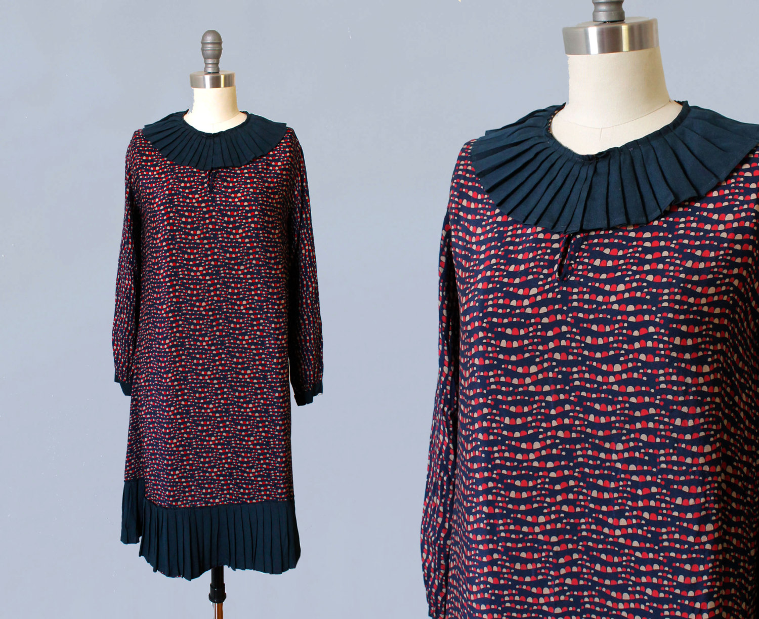 Abstract printed silk dress with pleated collar and hem. 1920s.