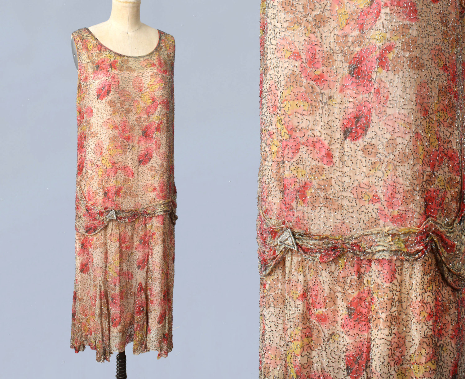 Heavily beaded floral silk dress. 1920s.