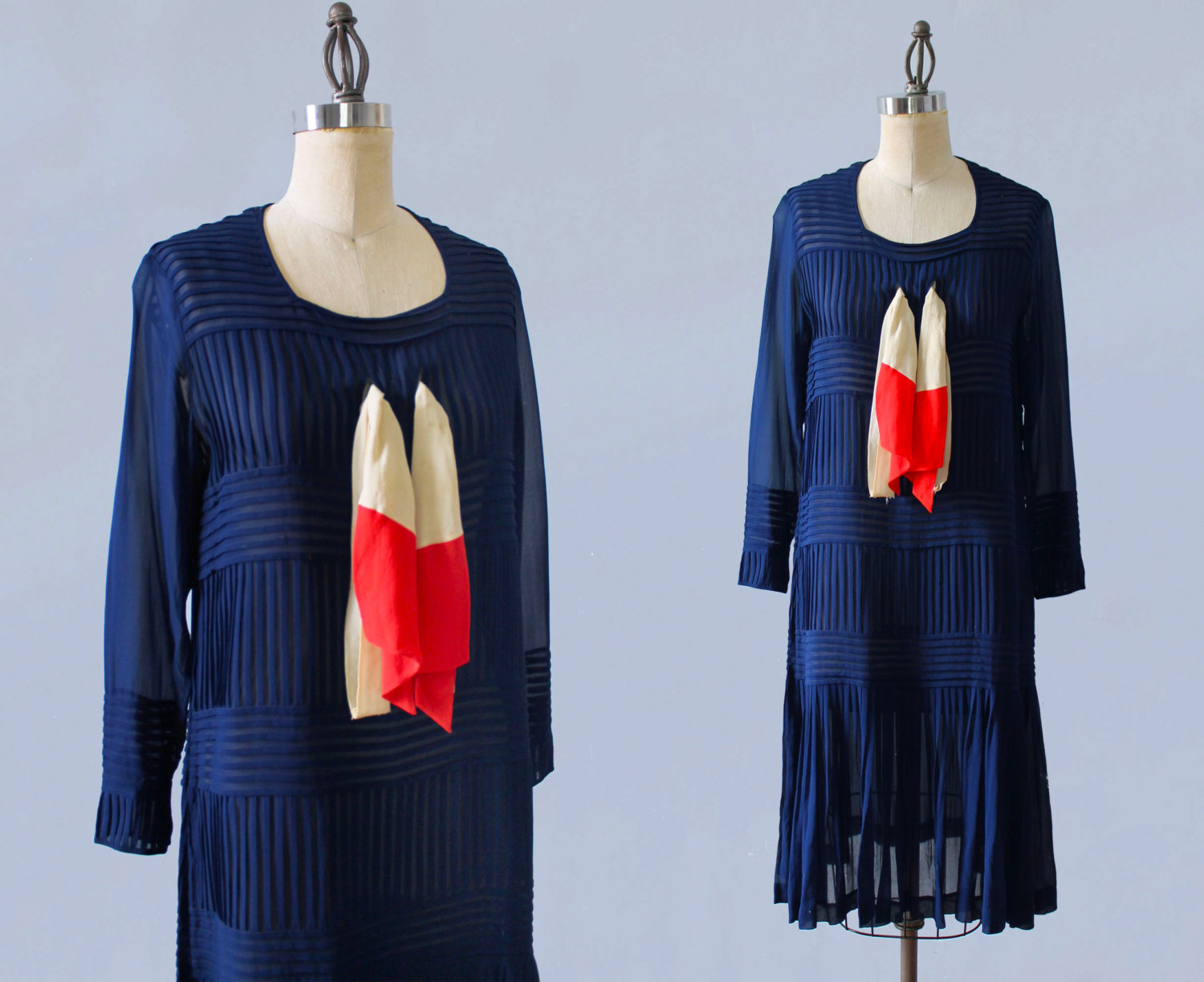 Blue silk dress with striped pleat details and scarf. 1920s.