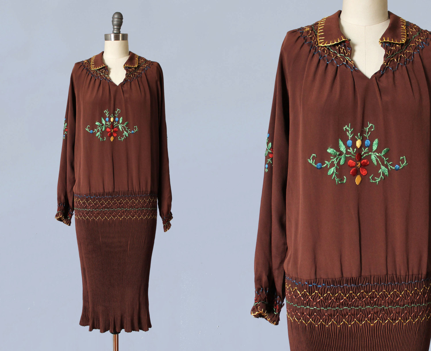 Brown silk embroidered peasant style dress with tightly pleated skirt. 1920s.