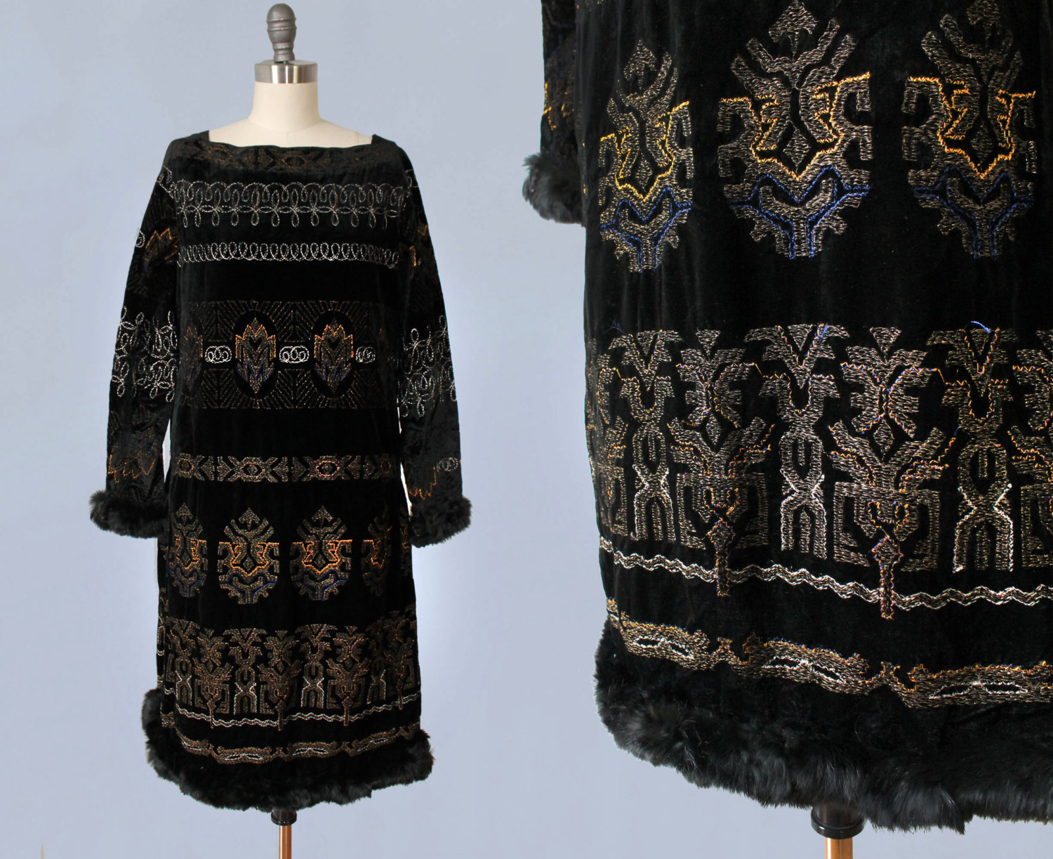 Black velvet dress with embroidered Aztec motifs and fur trim. 1920s.