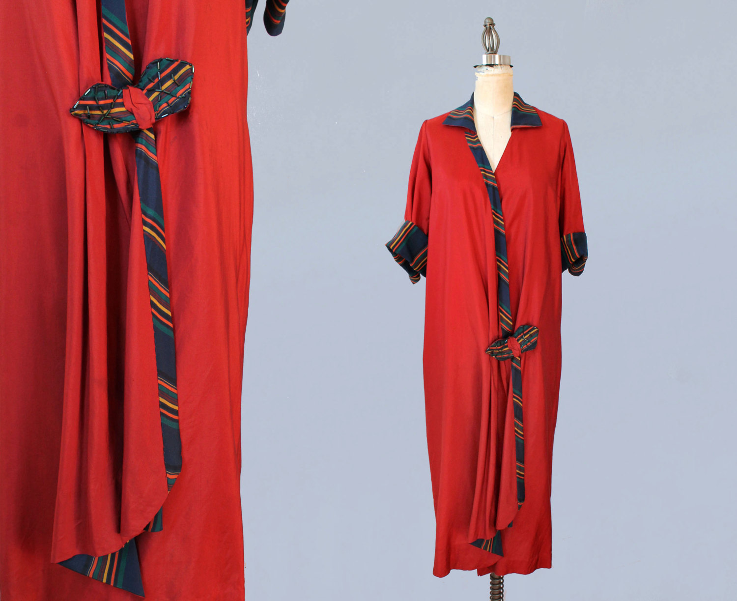 Red silk dress with wrap closure. 1920s.