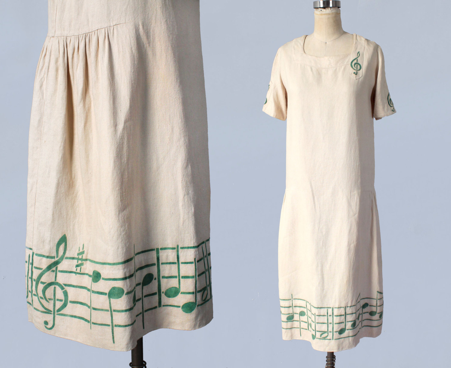 Linen dress with music notes. 1920s.